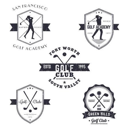 feminino: Golf Club, emblemas Golf Academy vintage, logotipos, cartazes, jogador de golfe, cruzou tacos de golfe e bola, com textura do grunge Banco de Imagens