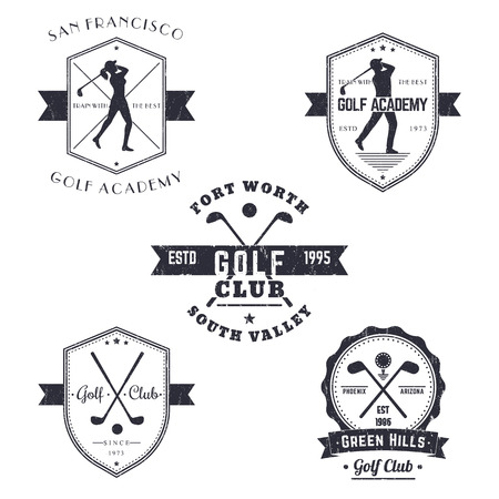 golf: Golf Club, Golf Academy vintage emblems, logos, signs, golfer, crossed golf clubs and ball, with grunge texture Stock Photo