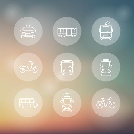 tren: El transporte urbano, tranvía, tren, autobús, moto, taxi, trolebuses, iconos transparentes de línea