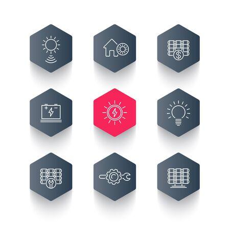 Solar energy, solar power, panels, hexagon line icons