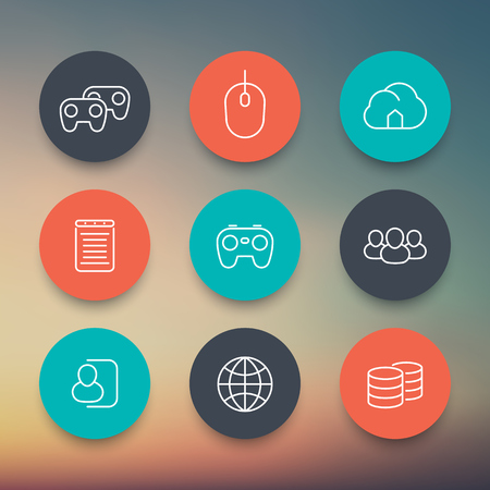 cooperative: videogames, cooperative, multiplayer, gaming, linear round color icons set