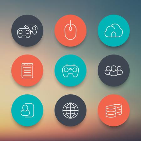 cooperativismo: videojuegos, cooperativo, multijugador, juegos de azar, los iconos de color circulares lineales establecidos