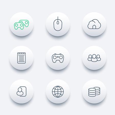 cooperativismo: videojuegos, cooperativo, multijugador, juegos, l�nea ronda iconos modernos Foto de archivo