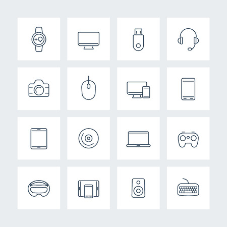 Modern gadgets linear icons pack