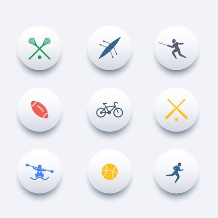 crosse: College sports, activities, round colored icons Illustration