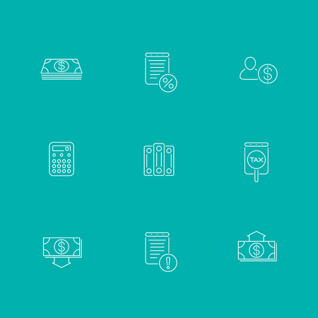 bookkeeping: Bookkeeping, finance, income line icons, isolated set Illustration