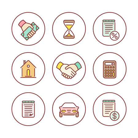 leasing: Leasing, banking, loan, colored line icons