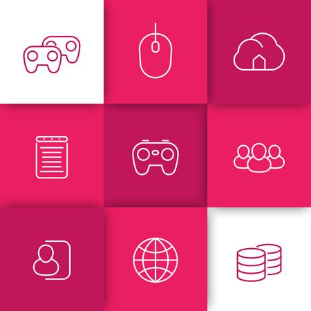 cooperativismo: videojuegos, cooperativo, multijugador, consola de juegos de v�deo dom�stico, iconos de l�nea en las plazas