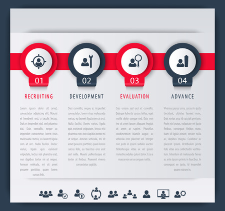 employee development: Staff, HR, employee development steps, infographic elements, icons, timeline, vector illustration, easy to edit