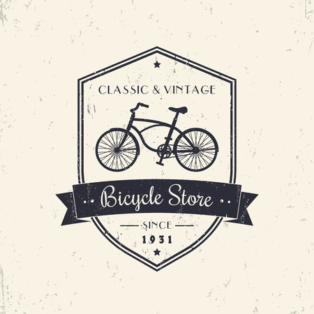 simple store: Bicycle store, shop, vintage grunge design on shield