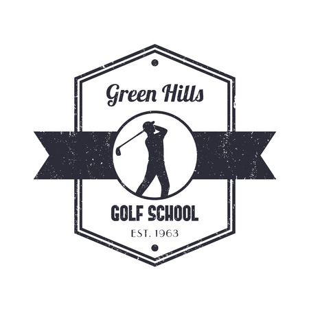 swinging: Golf school vintage logo, badge, with golfer, golf player swinging golf club Illustration