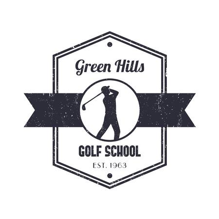 Golf school vintage logo, badge, with golfer, golf player swinging golf club Illustration