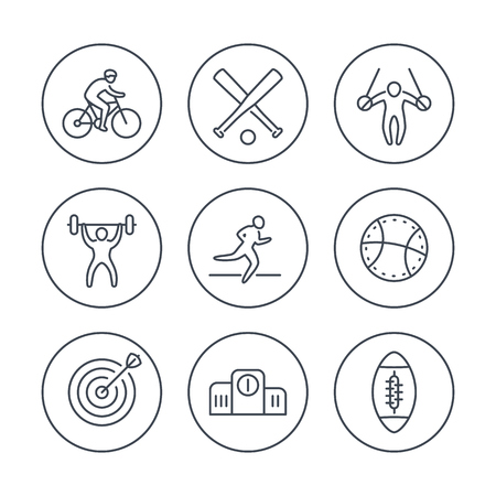 steady: different kind of sports, line icons in circles