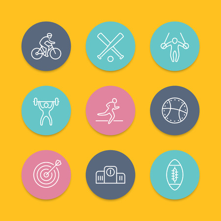 steady: different kind of sports, line round flat icons Illustration