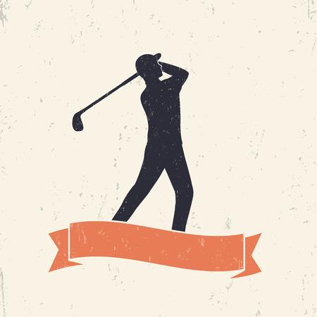 golfer swinging: golfer, golf player swinging golf club, vector illustration