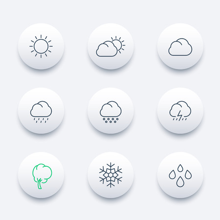hail: Weather, sunny, cloudy day, rain, hail, snow, wind, line round modern icons set, vector illustration Illustration