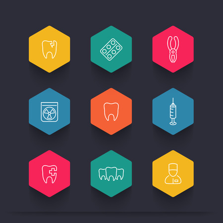 toothcare: Tooth, dental care, dental pliers, toothcare, stomatology, line color icons, vector illustration