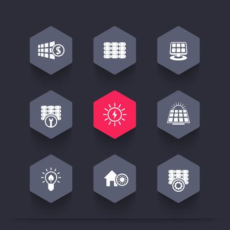energetics: Solar energy, panels, alternative energetics, hexagon icons, vector illustration