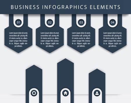 3 4: Business Infographics Elements, 1, 2, 3, 4, steps, timeline, growth arrows, vector illustration