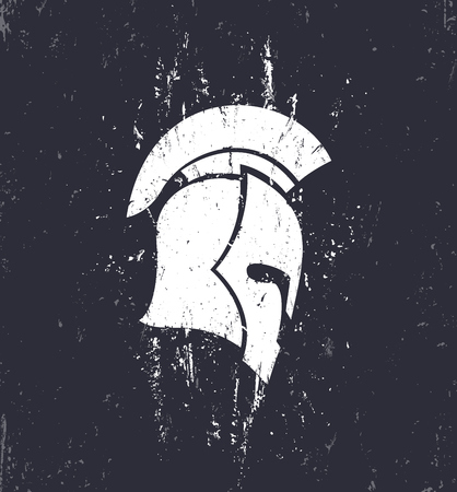 grunge spartan helmet with mohawk in profile, vector illustration Çizim