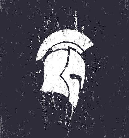 grunge spartan helmet with mohawk in profile, vector illustration Illustration