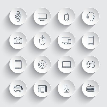 gadgets: Modern gadgets, line icons on round 3d shapes, vector illustration Illustration