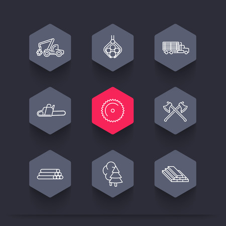 timber cutting: Logging, Forestry, Timber, Tree Harvester, Sawmill, logging truck, line hexagon icons, vector illustration Illustration