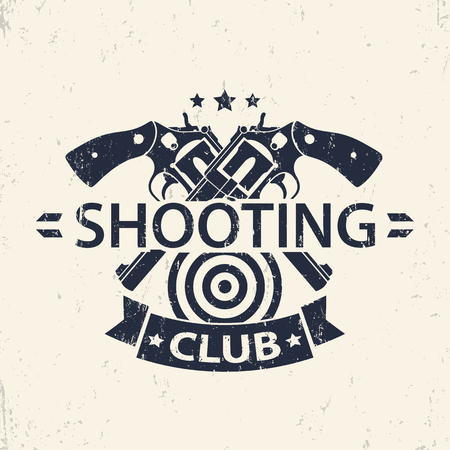 hand silhouette: Shooting Club, grunge emblem, badge with crossed guns, vector illustration