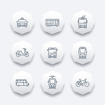 trolleybus: City transport, tram, train, bus, bike, taxi, trolleybus, line octagon icons, vector illustration
