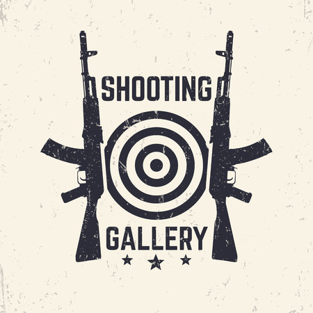 assault: Shooting Gallery grunge logo, emblem with assault rifle, vector illustration Illustration