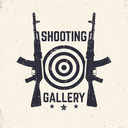 Shooting Gallery grunge logo, emblem with assault rifle, vector illustration Illustration