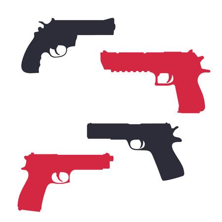 gun control: revolver, pistol, gun, handgun silhouettes over white, vector illustration