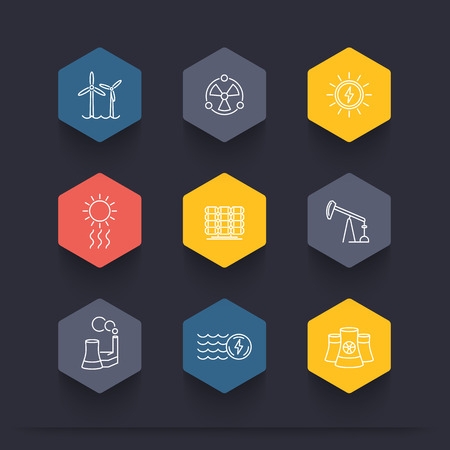 nuke plant: Power, energy production, energetics, electric industry, line  hexagon icons, vector illustration