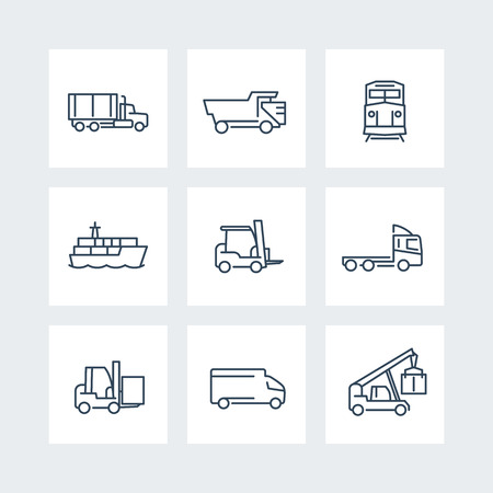 front loading: Transportation, thin line icons, Forklift, Cargo ship, Freight train, Cargo truck, vector illustration