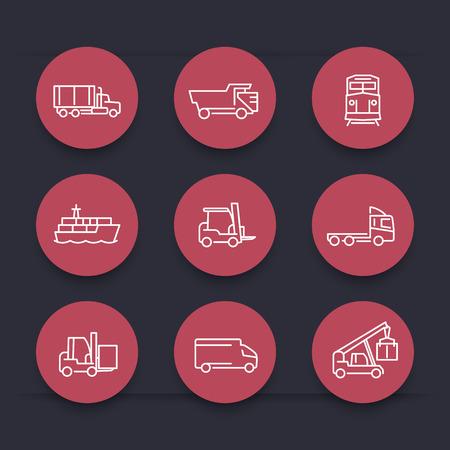 Transport, Dünne Linie Symbole, Gabelstapler, Frachtschiff, Güterzug ...