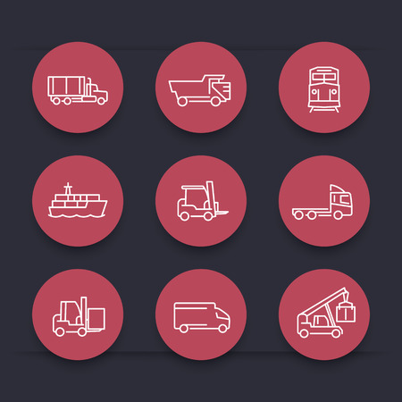 front loading: Transportation, line round red icons, Forklift, Cargo ship, Freight train, Cargo truck, vector illustration