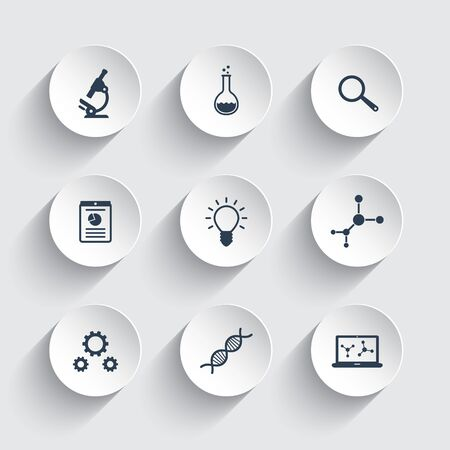 Science, research, laboratory icons on round 3d shapes, vector illustration