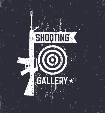automatic rifle: Shooting Gallery grunge logo, sign with automatic rifle, vector illustration