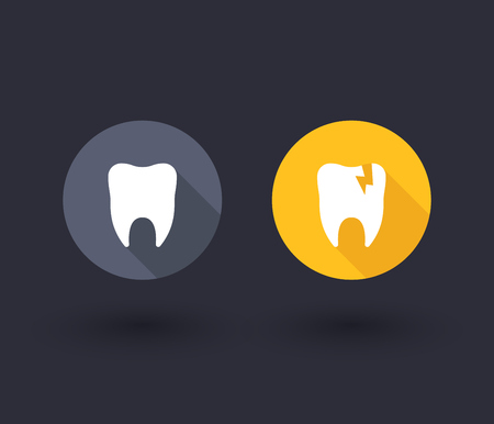 cavity: Tooth, tooth cavity, flat icons, vector illustration Illustration