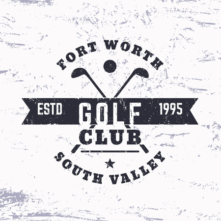 Golf Club vintage logo, grunge sign, print, vector illustration
