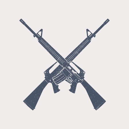 crossed 5.56 mm assault rifles, automatic firearm, guns, vector illustration Stock Vector - 48641921