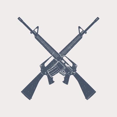 automatic: crossed 5.56 mm assault rifles, automatic firearm, guns, vector illustration Illustration