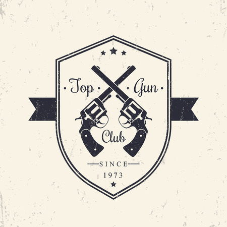 top gun: Top Gun club, vintage badge, emblem with revolvers, vector illustration