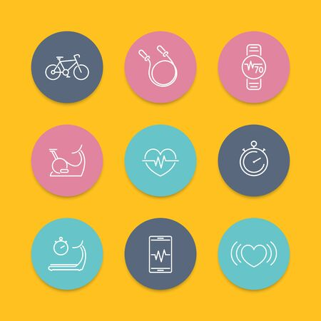 cardio: cardio, heart training, fitness, line round flat icons, vector illustration Illustration