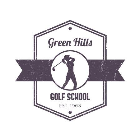 golfer swinging: Golf school vintage, badge, with girl golfer, female golf player swinging golf club, vector illustration