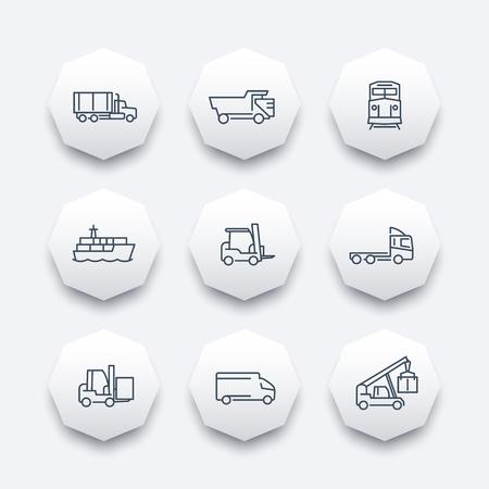 lading: Transportation line octagon icons, Forklift, Cargo ship, Freight train, Cargo truck, vector illustration Illustration