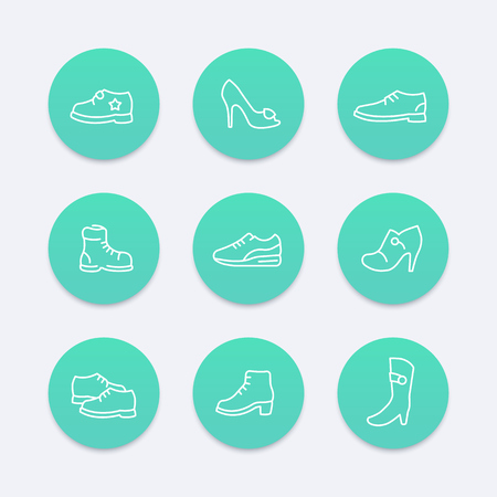 trainers: Shoes, heels, women shoes, boots, trainers, line round icons set, vector illustration