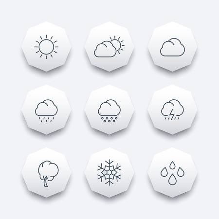 hail: Weather, sunny, cloudy day, rain, hail, snow, line octagon icons, vector illustration Illustration