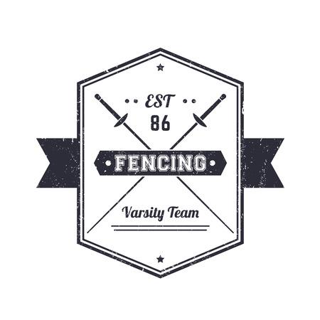 pommel: Fencing vintage grunge emblem, logo, badge, sign with crossed foils, over white, vector illustration