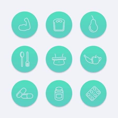 fat loss: Diet, nutrition, fat loss round aquamarine icons, vector illustration